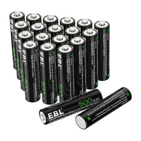 EBL 20-Pack 1.2V 500mAh Rechargeable AAA Batteries For Solar Garden Light ()