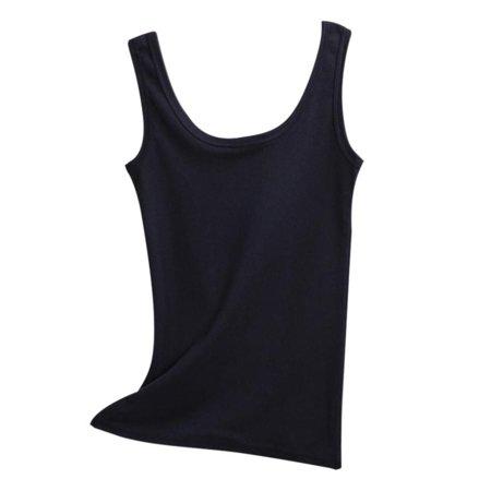 Women Slim U Shape Collar Tank Tops Sports Cotton Solid Camisole Tee ()