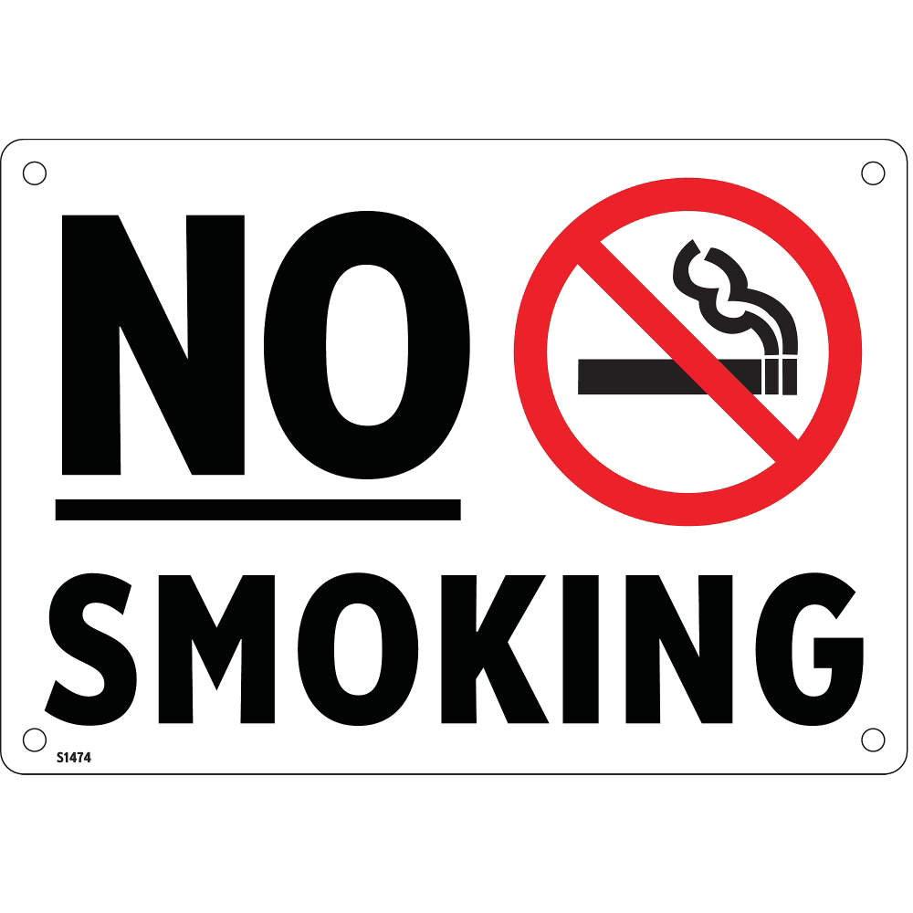 ELECTROMARK No Smoking Sign, 7 x 10In, R and BK/WHT S1474V7