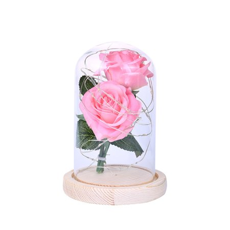 Homeholiday Artificial Plastic Dual Rose Flowers 20LED Copper Wire Night Light Glass Cover Night Lamp Birthday Party Ornaments - image 3 of 8
