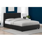 DHP Emily Upholstered Bed, Black Faux Leather, Multiple Sizes - Full