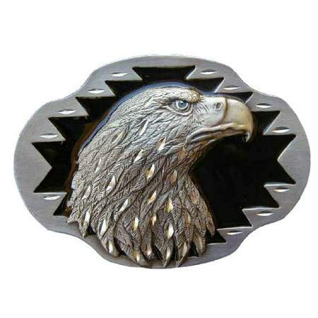 Eagle Head Diamond Cut Novelty Belt Buckle