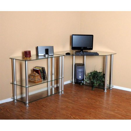 clear tempered glass corner computer desk with extention tables. Black Bedroom Furniture Sets. Home Design Ideas