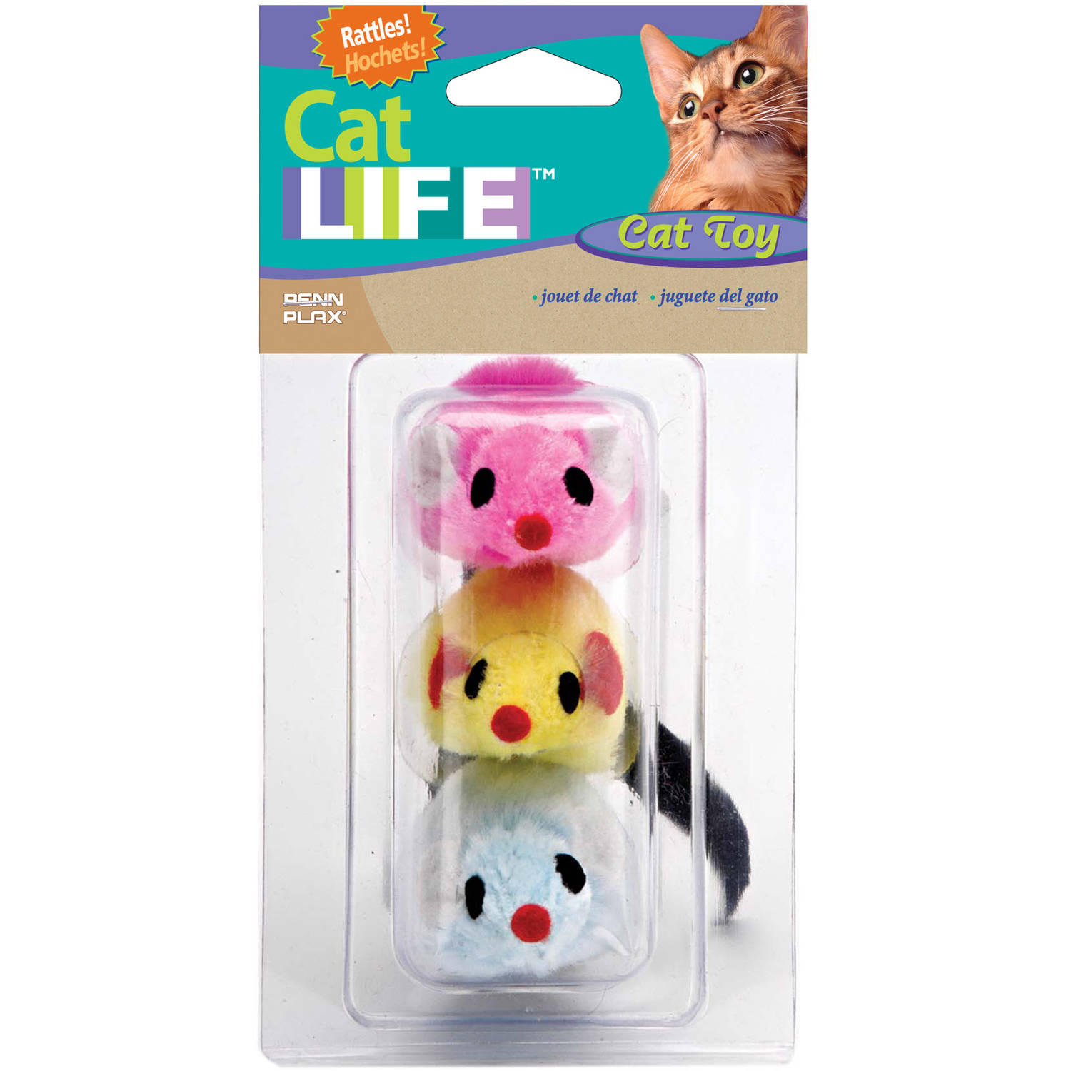"Penn Plax CAT537 3"" Felt Mice Toys, Assorted Colors, 3-Pack"