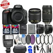 Nikon D5600 24.2MP DSLR Camera 18-55mm VR Lens 70-300mm Macro Lens -64GB Mega Bundle