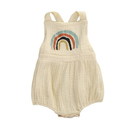 Newborn Infant Baby Girl Rainbow Print Clothes Sleeveless Romper Jumpsuit Bodysuit One Piece Summer Outfit 0-24M - image 4 of 4