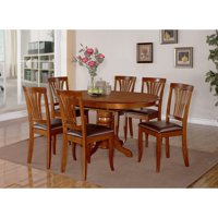 East West Furniture Avon 7 Piece Pedestal Oval Dining Table Set with Faux Leather Seat Chairs