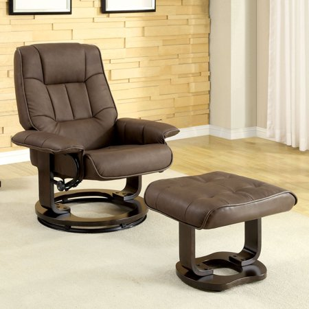 Furniture of America Taylor 2-Piece Swivel Recliner and Ottoman Set -