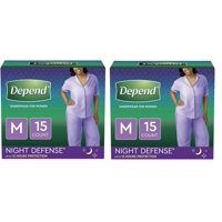 Depend Night Defense Incontinence Underwear for Women, Overnight, Medium, Light Pink, 15 Count -2 Pack