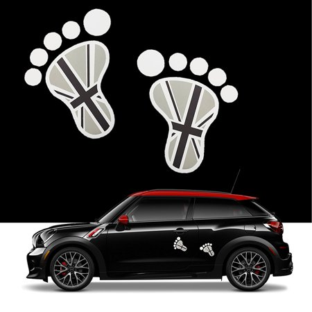 Decal Union (Xotic Tech 2x 3D Black Union Jack UK Flag Foot Decal Stickers for Mini Cooper S R56 R57 R58 R59 R60 Window Trunk Door etc)