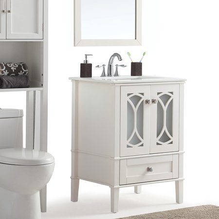 24 Inch Bath Vanity.Wyndenhall Mulberry 24 Inch Bath Vanity In Soft White With White