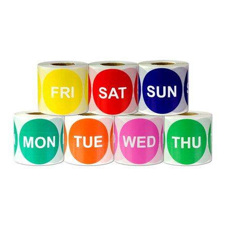 Round Monday - Sunday Stickers (2 inch, 300 Stickers per Roll, Assorted Colors, 7 Rolls) for Inventory or Shipping ()