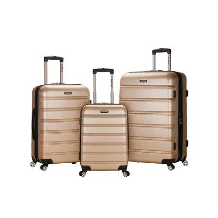 Rockland Melbourne 3pc Expandable ABS Spinner Luggage Set - Champagne
