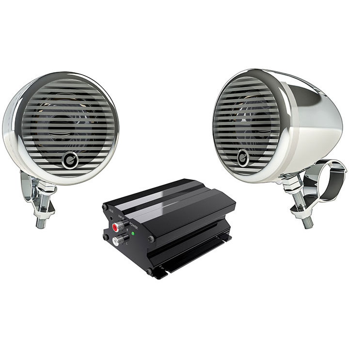 "Planet Motorcycle/ATV Sound System with Bluetooth 1 pair of 3"" Weather Proof Chrome Speakers Amp"