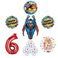 Superman Superhero 6th Birthday Party Supplies and Balloon Decorations