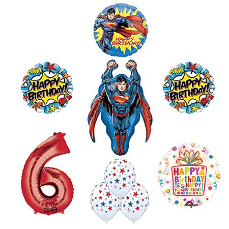 Superman Superhero 6th Birthday Party Supplies and Balloon Decorations (Superman Party Decorations)