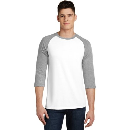 District DT6210 Young Mens Very Important Tee 3/4-Sleeve Raglan, Light Heather Grey/ White, XS ()