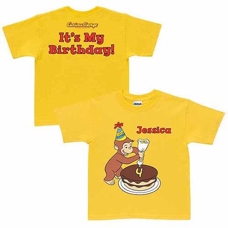 Personalized Curious George It's My Birthday Kids' T-Shirt, - Kids Personalized