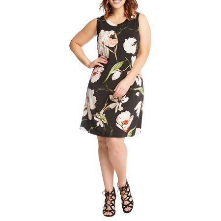 Plus Canyonland Floral Knit Halter Dress Border Halter Dress