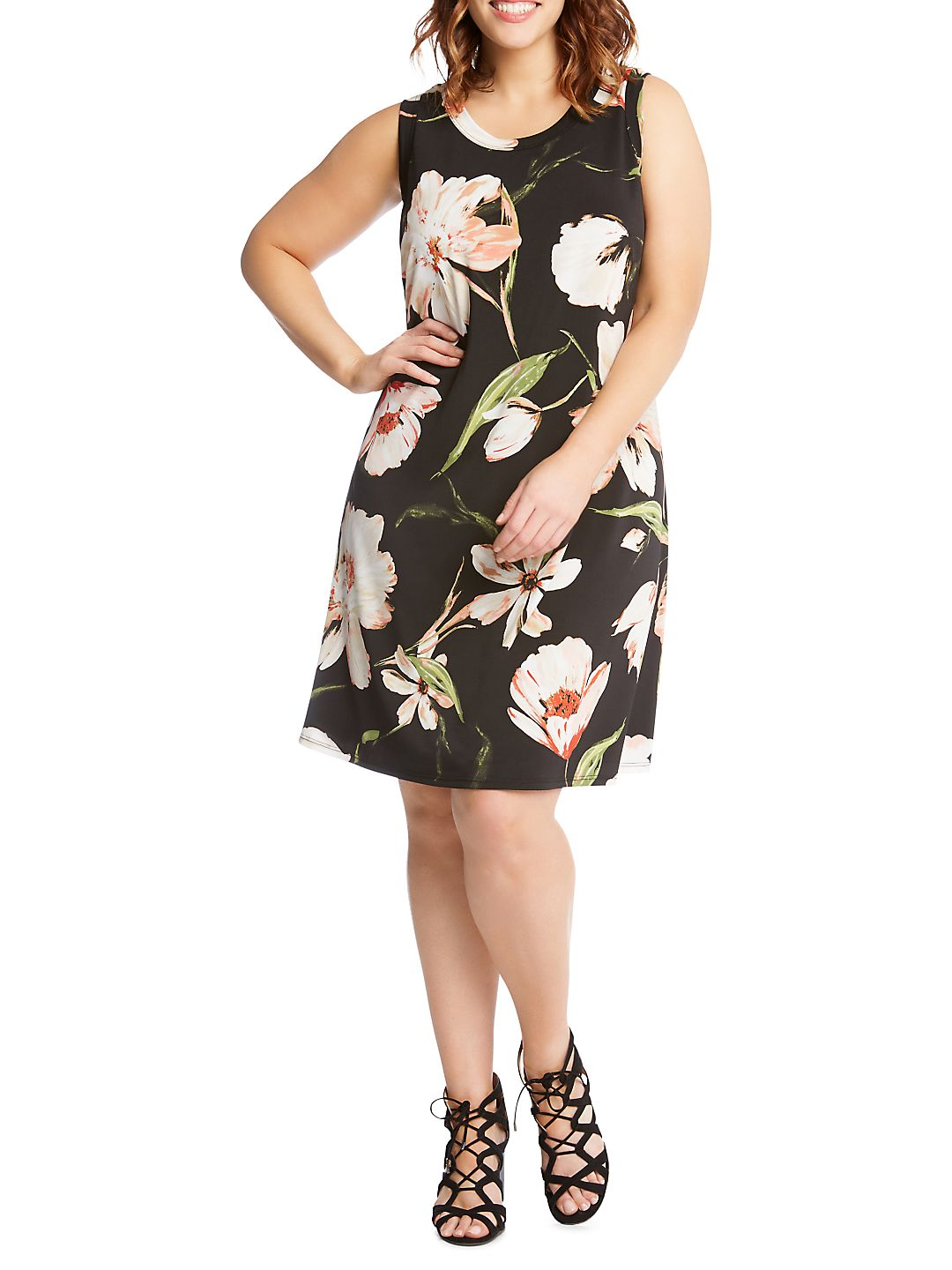 Plus Canyonland Floral Knit Halter Dress