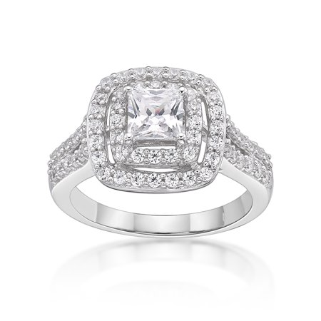 - Sterling Silver Simulated Diamond Double Halo Ring