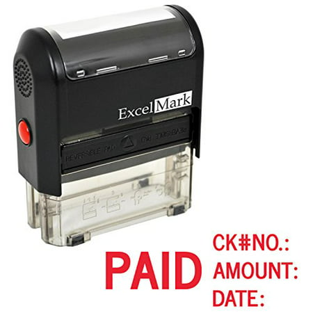 ExcelMark Self Inking Rubber Stamp - Paid, Check No., Amount, Date