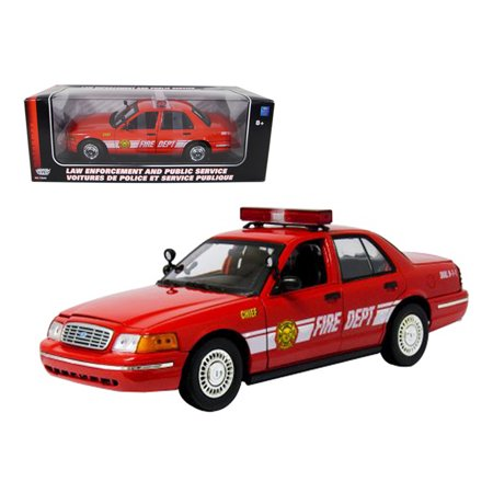 - 2001 Ford Crown Victoria Fire Chief Car 1/18 Diecast Model Car by Motormax