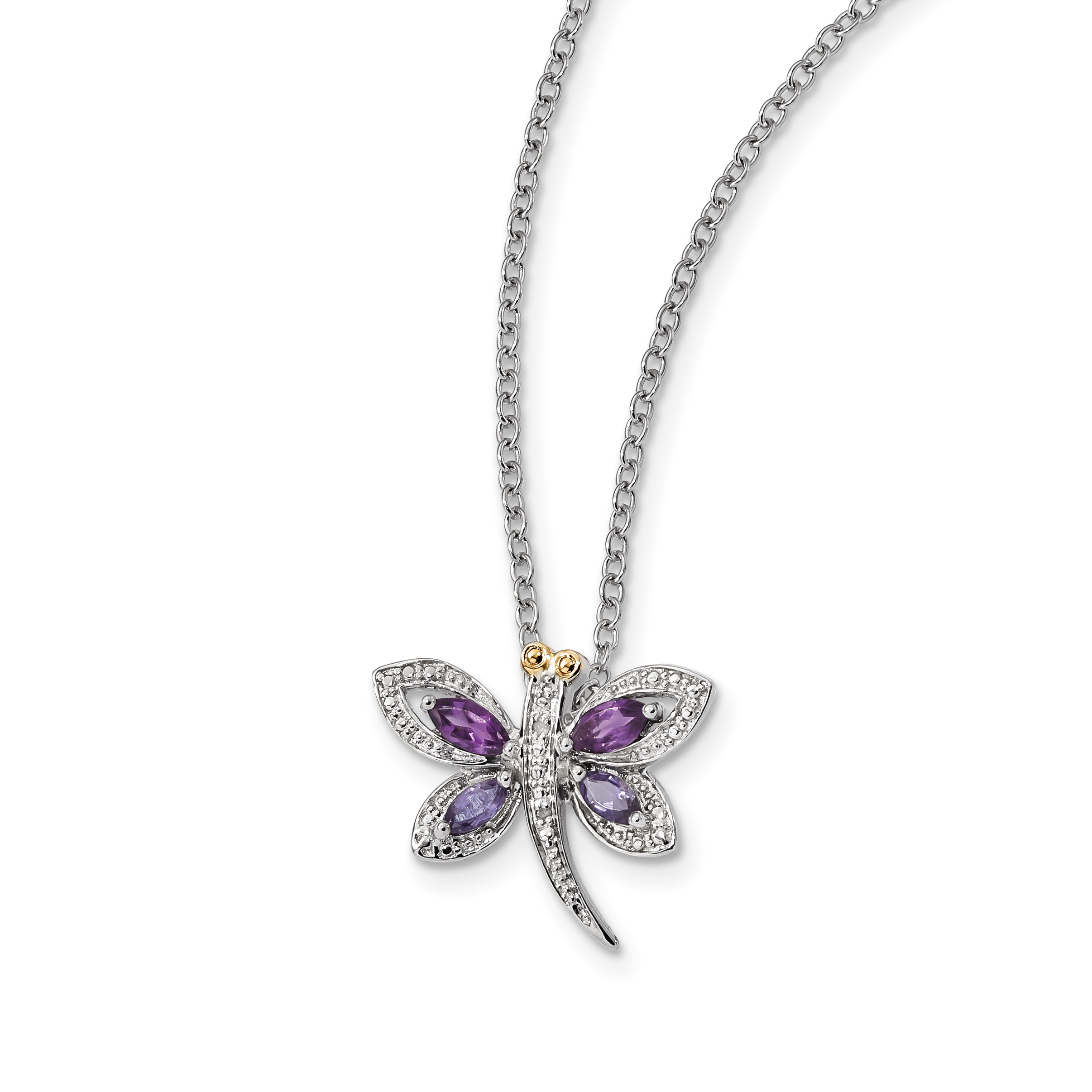 Sterling Silver Sterling Silver & Amethyst and Iolite and Diamond Dragonfly Necklace 17 Inch by Saris and Things QG