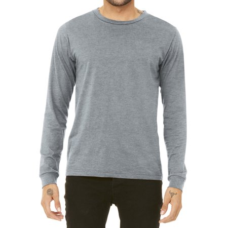Mafoose Men's Casual Long Sleeve Jersey Ribbed Cuffs Tee Athletic Heather X-Small