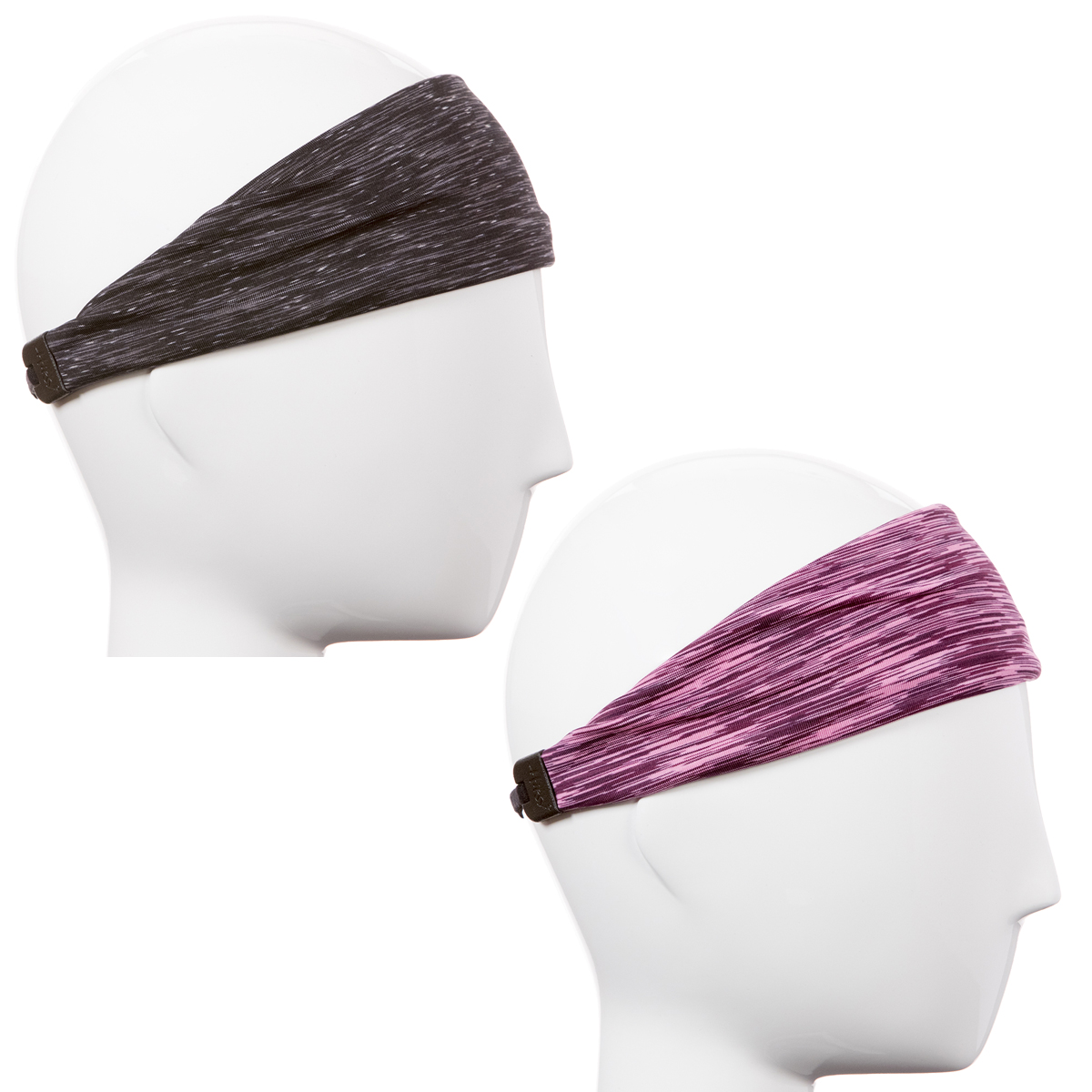 Hipsy Xflex Adjustable & Stretchy Sports Sweat Running Headbands for Women Gift Pack (Black & Pink 2pk)