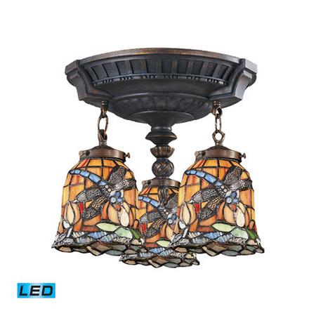Semi Flush 3 Light LED With Aged Walnut Finish Tiffany 12 Glass 14 inch 40.5 Watts - World of (Walnut Finish Lcd)