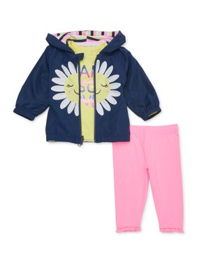 Wonder Nation Baby Girl Reversible Windbreaker Jacket, T-shirt & Leggings, 3pc Outfit Set