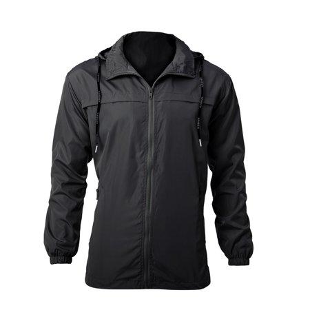 Men's Hooded Windbreaker Full Zip Pockets Lightweight Water-Resistant Shell Jacket for Hiking, Climbing, Running Windbreaker Winter (Nike Mens Windrunner Full Zip Running Jacket)
