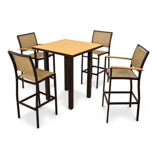 POLYWOOD Bayline™ 5 Piece Bar Height Dining Set