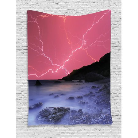 Lake House Decor Wall Hanging Tapestry  Thunderstorm Bolts With Vivid Colorful Sky Like Solar Lights Phenomenal Nature Picture  Bedroom Living Room Dorm Accessories  By Ambesonne