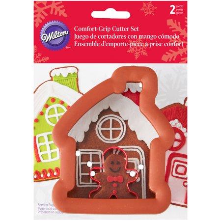 Comfort-Grip Cookie Cutter Set 2/Pkg-Gingerbread House W/Mini Gingerbread Boy