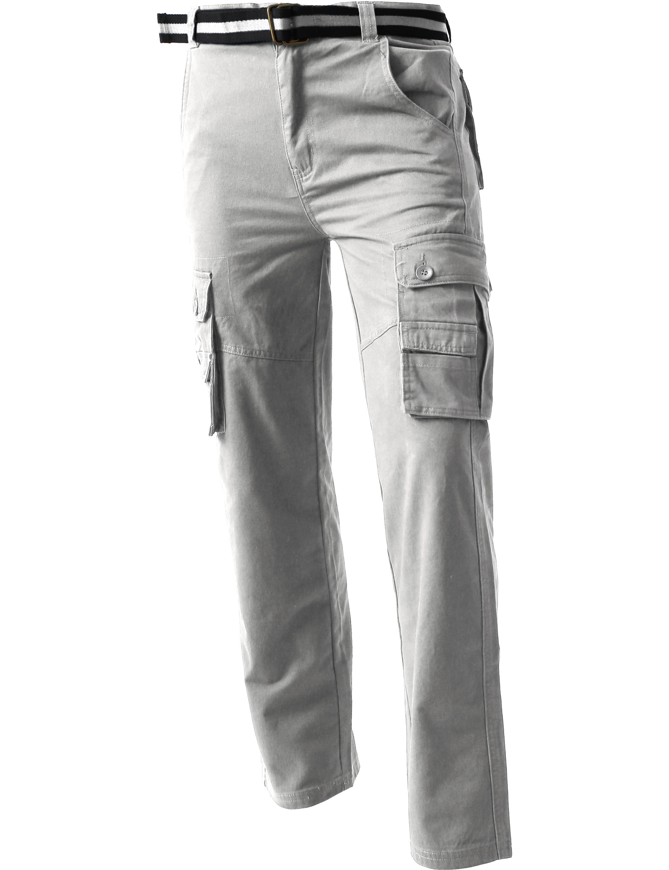 Mens CARGO PANTS with Utility Belt Lightweight Relaxed Straight Fit Twill Cotton Work Outdoor Tactical