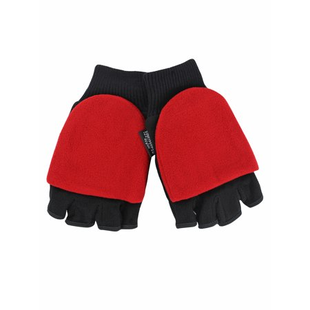 Black 3-Pack Convertible Fingerless Mens Gloves With Red Mitten Cover (Black And Red Gloves)