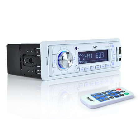 Pyle PLMR19W - Stereo Radio Headunit Receiver, Aux (3.5mm) MP3 Input, USB Flash & SD Card Readers, Remote Control, Weatherband, Single DIN (White)