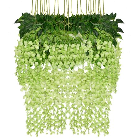 12 Piece Artificial Wisteria Vine Rattan, Hanging Silk Flowers String for Home Party, Yard and Wedding Decor, - Dark Blue Silk Flowers