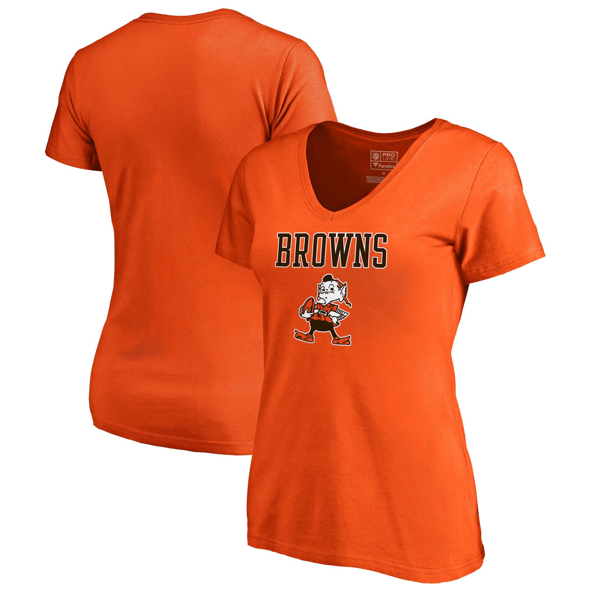 Cleveland Browns NFL Pro Line by Fanatics Branded Women's Vintage Team Lockup Plus Size V-Neck T-Shirt - Orange
