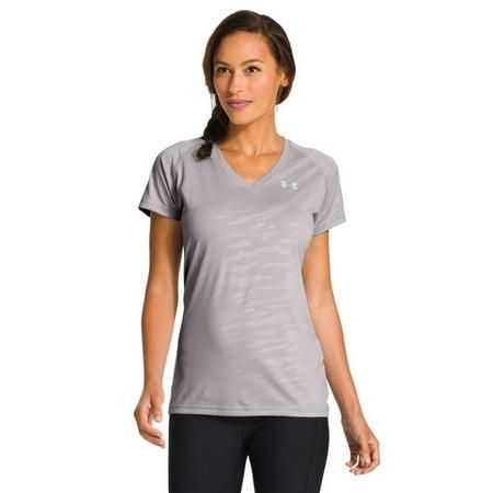 Under Armour Womens UA TechTM Short Sleeve V-Neck Large MOON MIST (Under Armour Womens 3 4 Sleeve)
