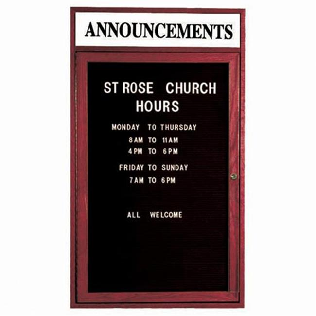 Aarco Products CDC2418H 1-Door Enclosed Changeable Letter Board with Header - Cherry