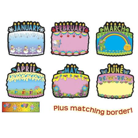 Carson-Dellosa Birthday Cakes Bulletin Board Set, 18 Pieces
