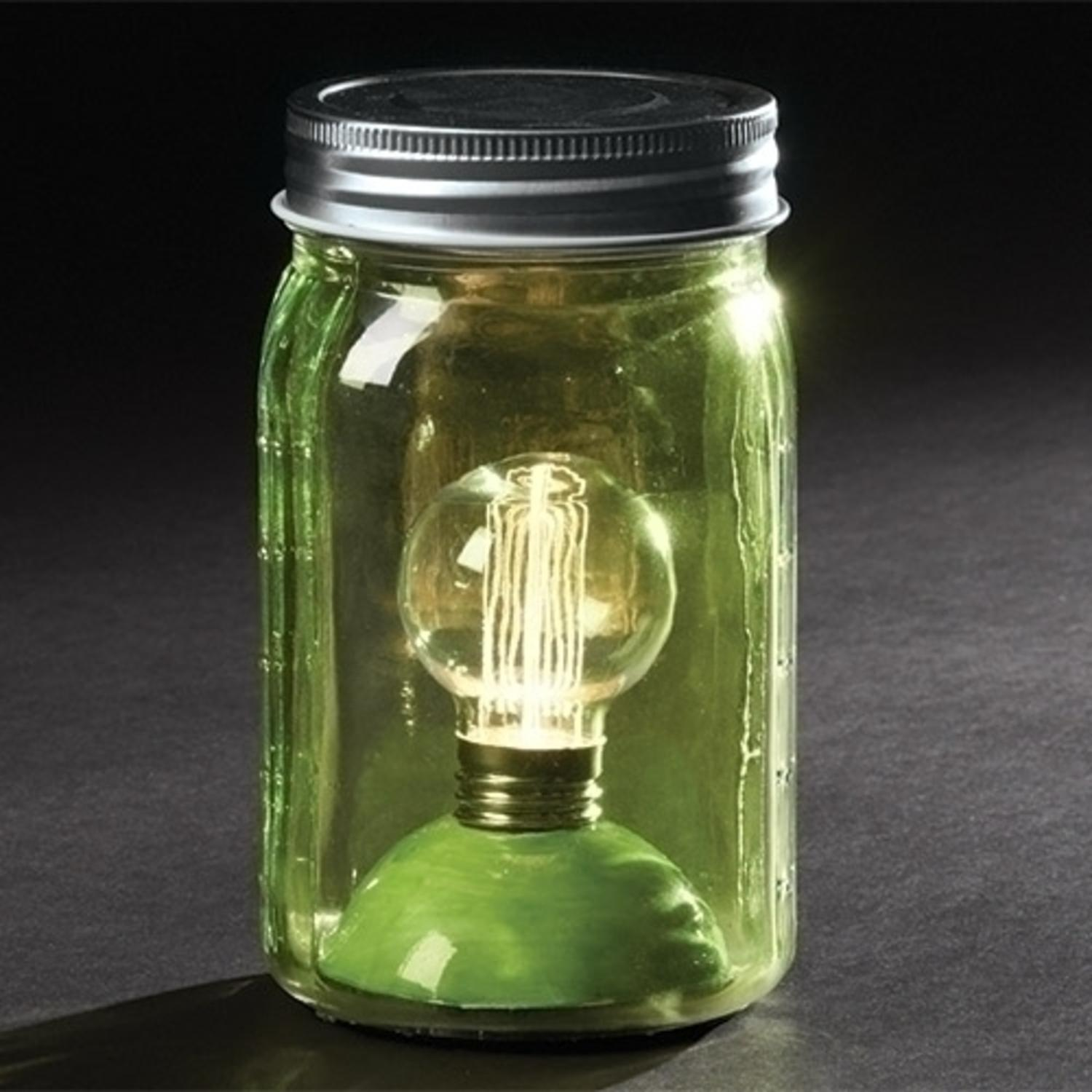"6.5"" Battery Operated LED Edison Bulb Vintage-Style Green Glass Mason Jar Lantern"