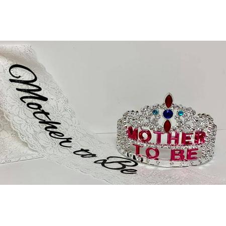 Mother To Be Princess Plastic Tiara With Fabric Mom Sash Gift - Tiara Gifts