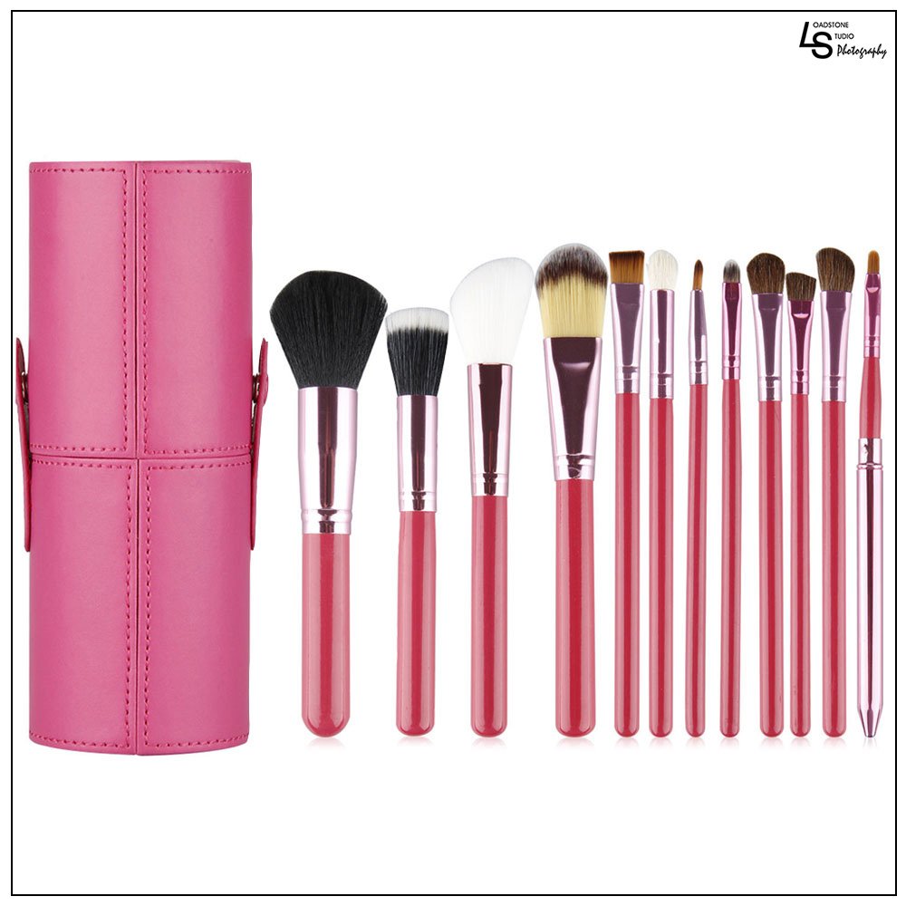 Professional Core Makeup Brush 12 Pcs Set Foundation Blending Blush Eyeliner Powder Brush Kit Pink,WMLS1835