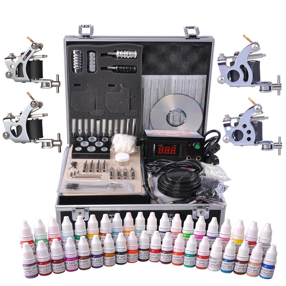 Professional Complete Tattoo Kit 4 Machine 40 Ink Gun Power Supply Grip Tip Foot Switch Set