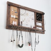 Sandinrayli Large Wall Mounted Jewelry Organizer Rustic Wood with Removable Hanging rod and Storage Shelf for Earrings, Bracelets, Necklaces and Accessories
