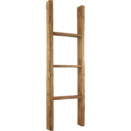 """15""""W X 48""""H X 3 1/2""""D Vintage Farmhouse 3 Rung Ladder, Barnwood Decor Collection, Weathered Brown by Ekena Millwork"""